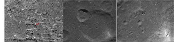 bagliore di luce sulla superficie lunare