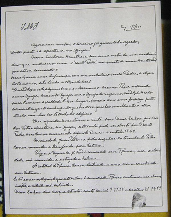 La lettera del Terzo Segreto di Fatima