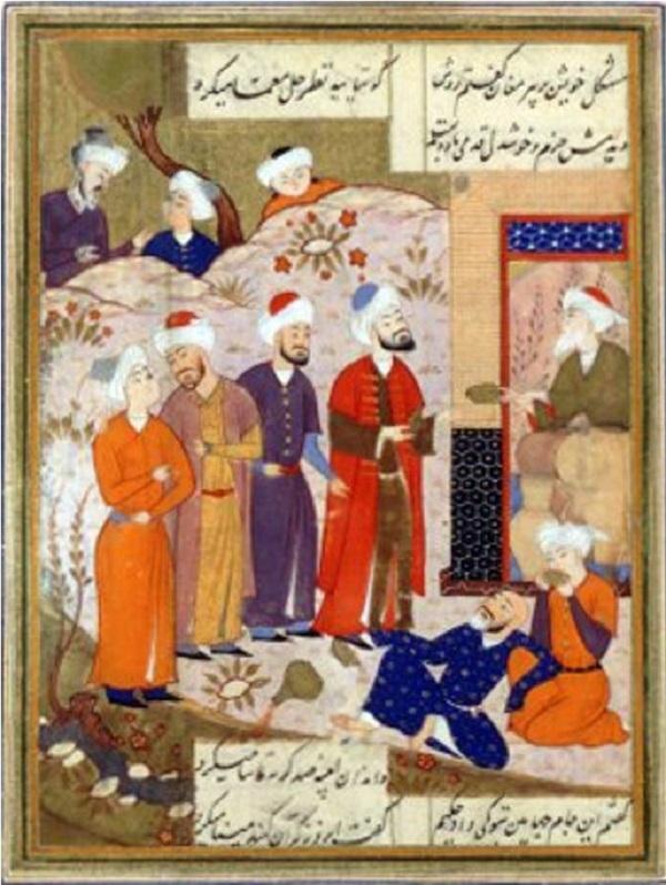 Antico poeta persiano Hafez, guarda la Coppa di Jamshid