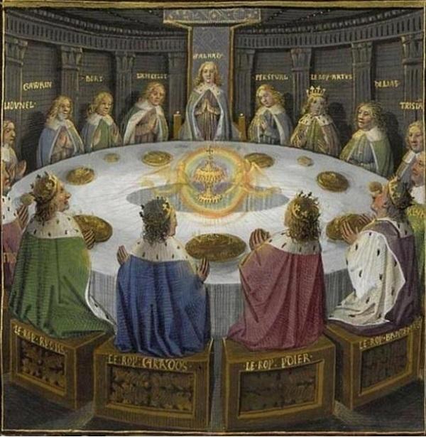 I cavalieri di Re Arthu vedono una visione del Santo Graal