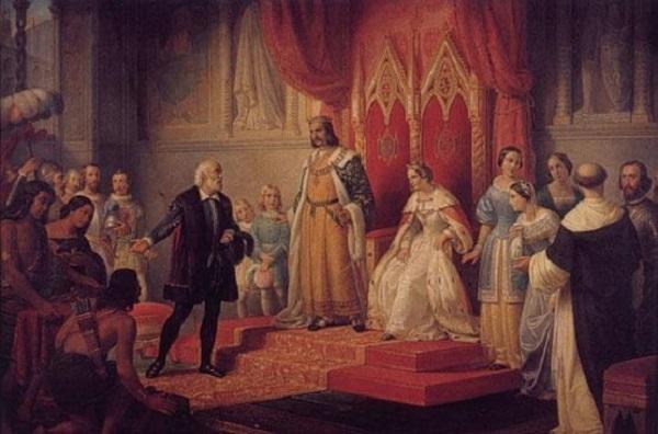 Cristoforo Colombo presenta i nativi americani alla regina Isabella.
