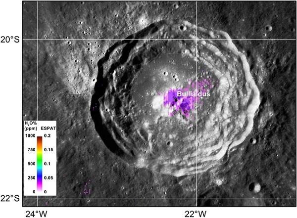 mappa acqua del cratere bullialdus