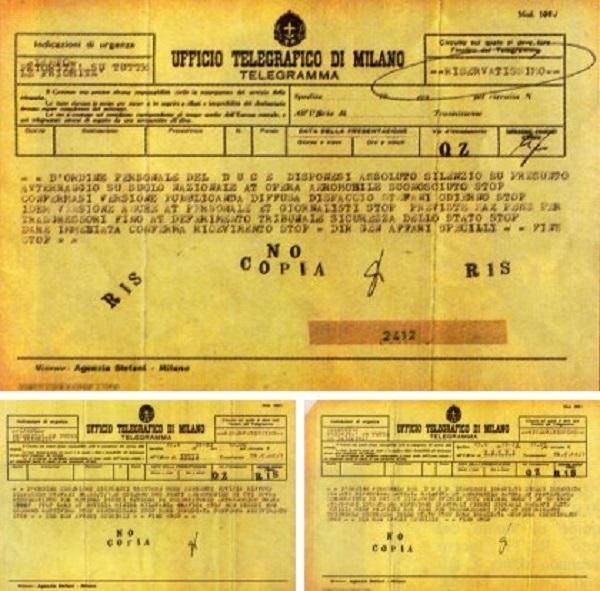 telegramma ufo di mussolini