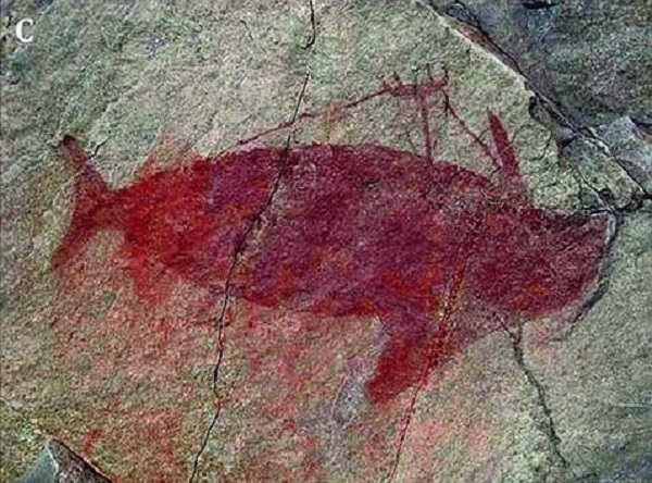 antica pittura rupestre su roccia