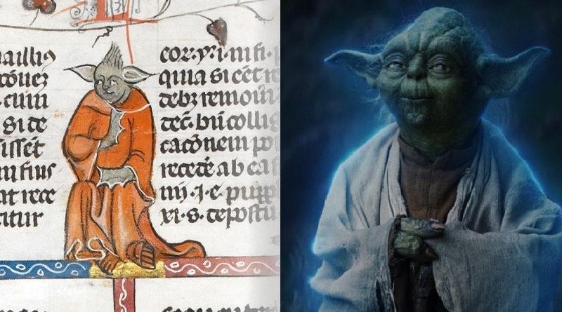 Una figura del maestro Yoda di Star Wars appare in un testo del 14°secolo