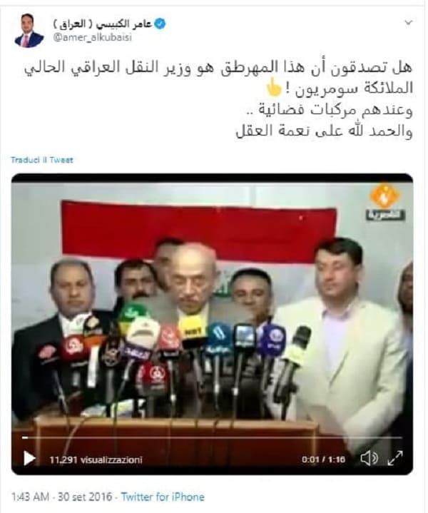 Ministro iracheno tweet